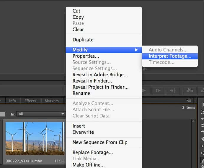 "hit Modify > Interpret Footage. Once the setting box opens, click ""Frame Rate"" and choose ""Assume this Frame Rate""."